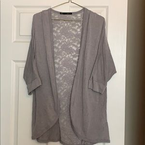 Gray cardigan with lace back